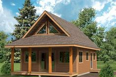 The Cygnet tiny home has 2 bedrooms and an awesome covered front porch