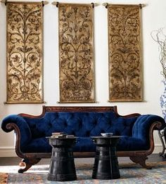 amazing navy blue velvet vintage antique sofa