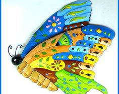 Hand Painted Metal Art Tropical Fish Wall Hanging Whimsical