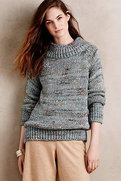Marled Mock-Neck Pullover - anthropologie.com - I can't tell about the color.