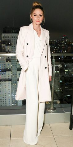 June 2, 2016 The socialite went monochrome for an event in N.Y.C. in a white jumpsuit and off-white trench.
