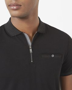 Zip up polo shirt - Black | Tops & T-shirts | Ted Baker UK