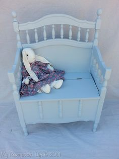 How to do a crib repurposed into a toy box bench. Use your child's crib to make a toy box for them.