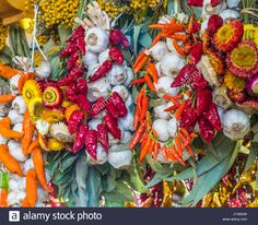 garlic and pepper hanging on a local market Stock Photo, Royalty Free Image: 154854585 - Alamy