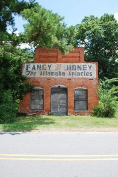 """Remnants of Fancy Honey - The Altamaha Apiaries"" -- [US 341 going north in Gardi, Wayne County, Georgia. It was built in 1900 & first served as a General Store & later on a Post Office. In 1941 - it was sold to a couple who was into beekeeping and making honey & it became the *Altamaha Apiaries.*]~[Photograph by sssdc1 (Scott) - June 27 2008 - Pendarvis, Georgia - US]'h4d-232.2013'"