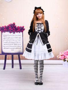Cotton Black And White Long Sleeves Cotton Gothic Lolita Dress - Milanoo.com