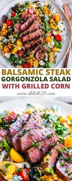 Slaw Recipes, Corn Salad Recipes, Grilling Recipes, Beef Recipes, Cooking Recipes, Salad Recipes For Dinner, Dinner Salads, Steak Dinner Recipes, Salads