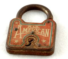 old rusty All American vintage antique lock.