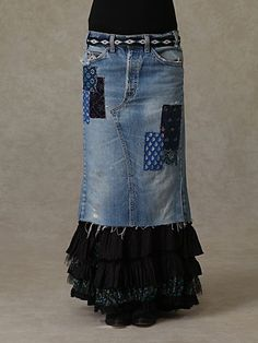 Merrie's Ruffled Denim Patchwork Skirt