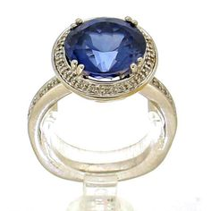 white gold rosette ring set with 26 brilliant cut diamonds with a total weight of ca. and a tanzanite with a total weight of ca. Vintage Silver Rings, Vintage Jewelry, Golden Ring, Tanzanite Ring, Silver Engagement Rings, Ring Designs, White Gold, Diamond, Vintage Jewellery