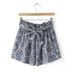 Retro Style Blue And White Porcelain Pattern Shorts For Women