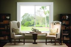 Essence Series horizontal sliding wood windows in primed pine Living Room Windows, House Windows, New Living Room, Home And Living, Sliding Windows, Wood Windows, Windows And Doors, Bay Window Exterior, Exterior Entry Doors