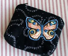 cotton purse with zip with butterfly £8.00