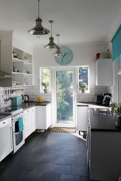 Progress Report: Channelling My Inner Nigella and Some New Bits for the Kitchen - Flooring Piclodge White Subway Tile Kitchen, Kitchen Flooring, Kitchen Remodel, Kitchen Decor, Modern Kitchen, New Kitchen, Home Kitchens, Kitchen Renovation, Kitchen Design