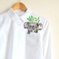 Koala bear in a  pocket of shirt   handpainted  by Dariacreative