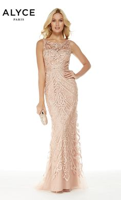 Alyce Paris - 5015 Beaded Tulle Illusion Bateau Fitted Dress – Step Easy Me Dot Com Bridesmaid Dresses, Prom Dresses, Formal Dresses, Wedding Dresses, Formal Prom, Long Dresses, Bridesmaids, Sequin Gown, Champagne Sequin Dress