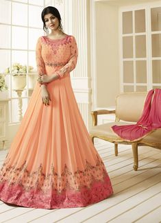 Peach churidar kameez with dupatta. Work - Heavy resham and zari embroidery and buttis.Please Note: The first wash of the garment should always be Dry-Cleaned. Anarkali Dress, Anarkali Suits, Ethnic Trends, Floor Length Anarkali, Girls Dresses, Formal Dresses, Salwar Kameez, Indian Wear, Ball Gowns
