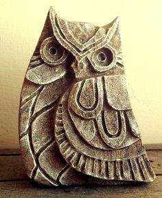 Owl Sculpture Carved Stone Sculpture. Stone by FluffyFenris, £25.00 #handmade…