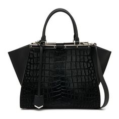 Fendi 3Jours Crocodile-Embossed Calf Hair & Leather Shopper (12,940 SAR) ❤ liked on Polyvore featuring bags, handbags, tote bags, black, totes, fendi tote, leather purses, leather tote handbags, shopping bag and leather tote purse