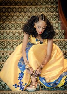 Eritrean Wedding traditional dress; Melsi & albaso hairstyle