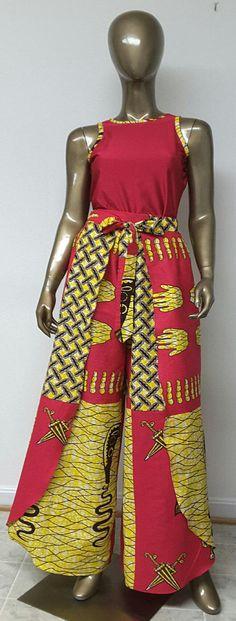 African Print Wrap Palazzo Pants. Sash Waistband. by NanayahStudio