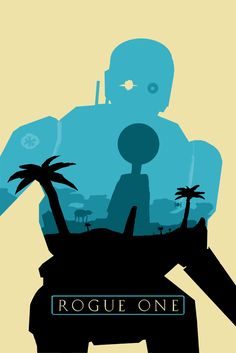My favorite Rogue One robot, K-2SO, as a silhouette with a planet Scarif design.  Inspired by Olly Moss' original Star Wars trilogy movie posters.