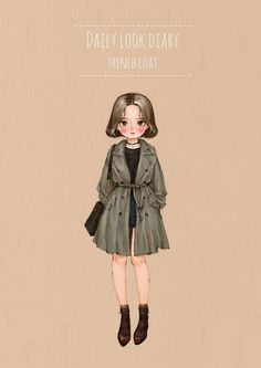 Image in Fashion_V collection by on We Heart It Daily Fashion, Fashion Art, Fashion Design, Illustration Sketches, Illustrations, Mode Poster, Cute Kawaii Girl, Watercolor Girl, Forest Girl