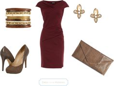 Burgundy dress with muted accessories for DYT Type 3 women when they want to stay true to type but not be too flashy, like for a wedding. Stylish Eve, Fall Winter Outfits, Autumn Winter Fashion, Fall Fashion, Winter Stil, Evening Outfits, Burgundy Dress, Work Fashion, Fashion Pictures
