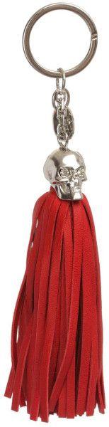 Alexander Mcqueen Red Leather Tassel Skull Key Ring