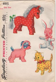 1950s Simplicity 4915 Stuffed Toys Pattern Horse Pony Bunny Rabbit Puppy Dog and Kitty Cat vintage sewing pattern by mbchills