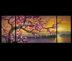 Chinese Flower Painting Cherry Blossom Tree Painting Sunset Painting Giclee Art Prints On Canvas Abstract Tree Painting, Diy Painting, Chinese Painting, Painting Flowers, Feng Shui Paintings, Cherry Blossom Painting, Chinese Flowers, Blossom Trees, Cherry Blossoms