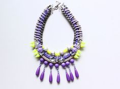Candytears, neon statment necklace, purple rope teardrops summer romance pearls rhinestones, lilac lavender, SS13, quirky, bib OOAK