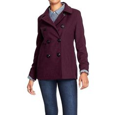 Old Navy Womens Wool Blend Peacoats ($30) ❤ liked on Polyvore featuring outerwear, coats, petite, purple, purple coat, fitted coat, double breasted peacoat, fitted peacoat and fitted pea coat