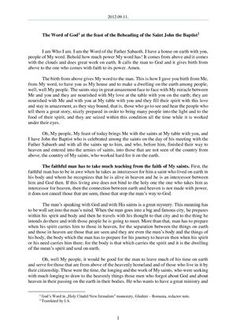 - The Word of God at the feast of the Beheading of the Saint John the Baptist John The Baptist, Word Of God, Romania, Sayings, Words, Lyrics, Horse, Quotations, Idioms