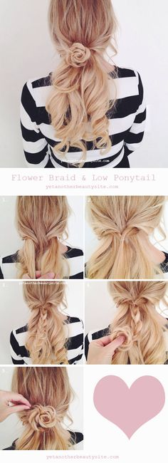 """Easy """"Flower Braid"""" w pony tail. Basic 3 strand braid, loosen the tightness of one strand & roll with loosened strand towards outside to form flower petals."""