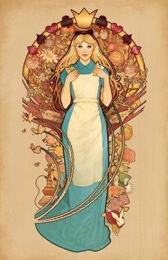 """""""Curiouser and Curiouser"""" - Alice from """"Alice in Wonderland"""" Art Nouveau style Art Nouveau Disney, Disney Fan Art, Disney Love, Disney Magic, Alice In Wonderland Sign, Adventures In Wonderland, Lewis Carroll, Cultura Pop, Disney And Dreamworks"""