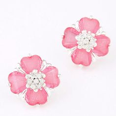 Monogramme Pink Diamond Decorated Clover Shape Design Alloy Stud Earrings :Asujewelry.com