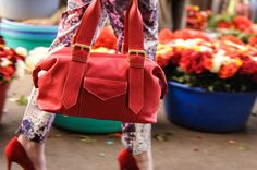 Leather Red Shoulder Bag. Spring/Summer fresh fairtrade leather accessories. Buy at: www.bettyandbetts.com