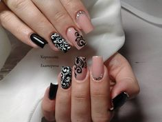 Any coquette will like this stylish manicure. Each nail itself is a separate composition, and all together are the expensive . Great Nails, Fabulous Nails, Gorgeous Nails, Cool Nail Art, Simple Nails, Natural Nail Designs, Best Nail Art Designs, Black Nail Art, Black Nails