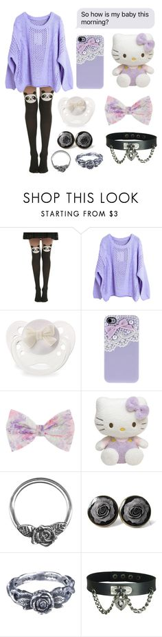 """"" by xxkrysxx ❤ liked on Polyvore featuring Hot Topic, Hello Kitty, momocreatura, purple, ddlg and littlespace"