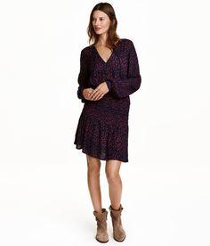 Gemustertes Kleid   Dunkelblau/Sterne   Damen   H&M DE
