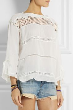 Étoile Isabel Marant | Cadix crochet-paneled cotton-blend top | NET-A-PORTER.COM | £280