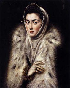 62. De atribución controvertida, se le atribuye a El Greco, podría ser de Sofonisba Anguissola o de Sánchez Coello. La dama del armiño. 1577-1579. En el contrasta el acabado del rostro, que ha sido interpretado como una forma de acercarse al gusto por el retrato flamenco que imperaba en Madrid, con un trabajo absolutamente veneciano del ropaje de la piel, que estaría en la línea de Tiziano y, en la España, del Velázquez más valiente.