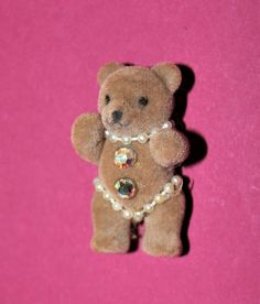 Vintage Tiny Cute Plush Teddy bear Brooch with pearl and