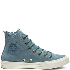 6931fd78f4f Chuck Taylor All Star Frilly Thrills High Top Celestial Teal Gold Egret  celestial teal