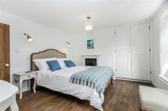 Gorgeous king size bed in the master bedroom of Lilac Cottage, a beautifully refurbished holiday cottage in South Devon South West Coast Path, South Devon, King Size, Holiday Ideas, Lilac, Master Bedroom, Cottage, Luxury, Inspiration