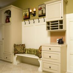 Entry Mudroom Design.  I like the drawers/mailbox cabinet with the bench