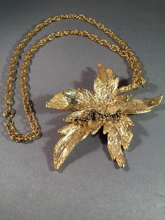 Sascha Brastoff Huge Gold Tone Pendant Necklace Leaf Caterpillar Vintage #SaschaBrastoff #Pendant
