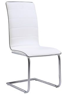 "Global D490-WH Side Chair - White chair with metal frame and PU leather upholstery.Dimensions: L18"" x D16"" x H39""."