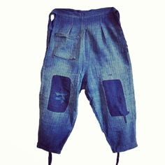 """@srithreads's photo: """"A pair of indigo dyed boro cotton tattsuke or work pants at New@Sri on the webshop today.  www.srithreads.com  Note the Western detail on the pants: a pocket is not traditionally Japanese."""""""